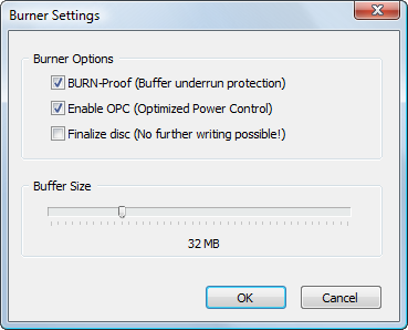 Disk Image: Burner settings