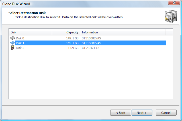 Disk Image software. Selecting a Destination Disk