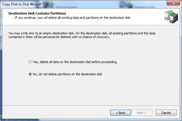 Disk Image.Destination Disk Contains Partitions