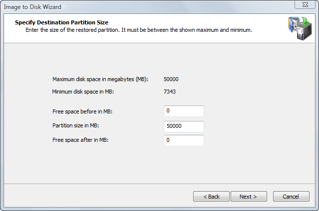 Specifying Partition Size