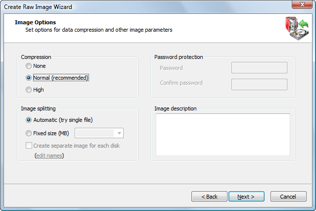 Create Raw Image Wizard