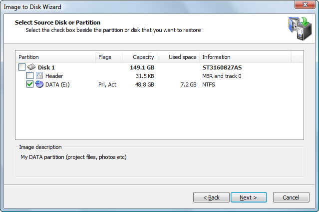 Disk Image:Selecting a Whole Disk or a Partition