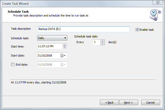 Disk Image: Scheduling a Task